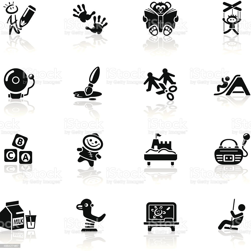 Deep Black Series | preschool icons vector art illustration
