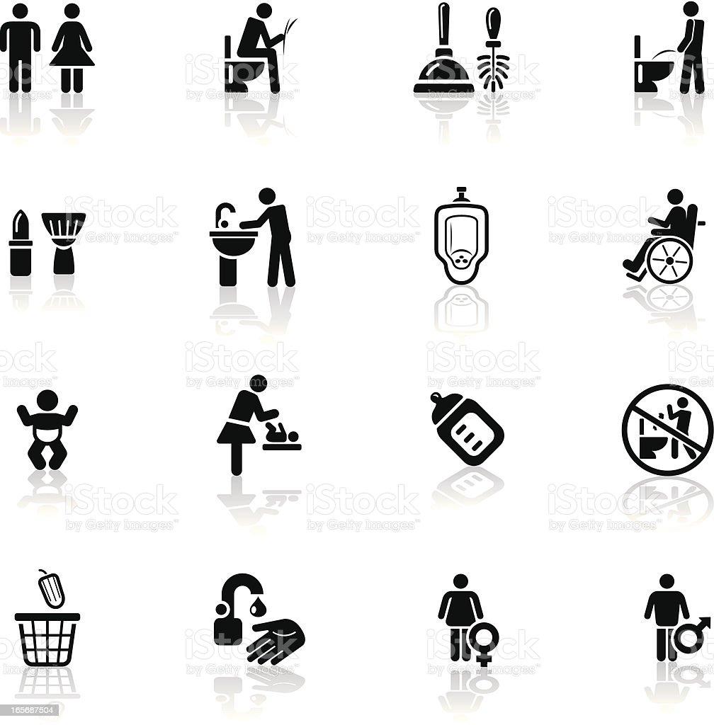 Deep Black Series | restroom icons vector art illustration