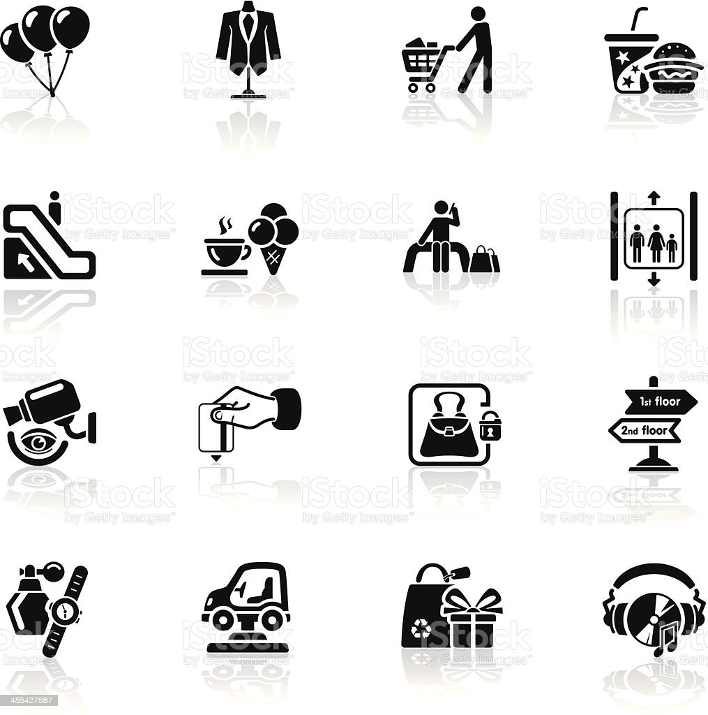 Deep Black Series | shopping mall icons royalty-free stock vector art