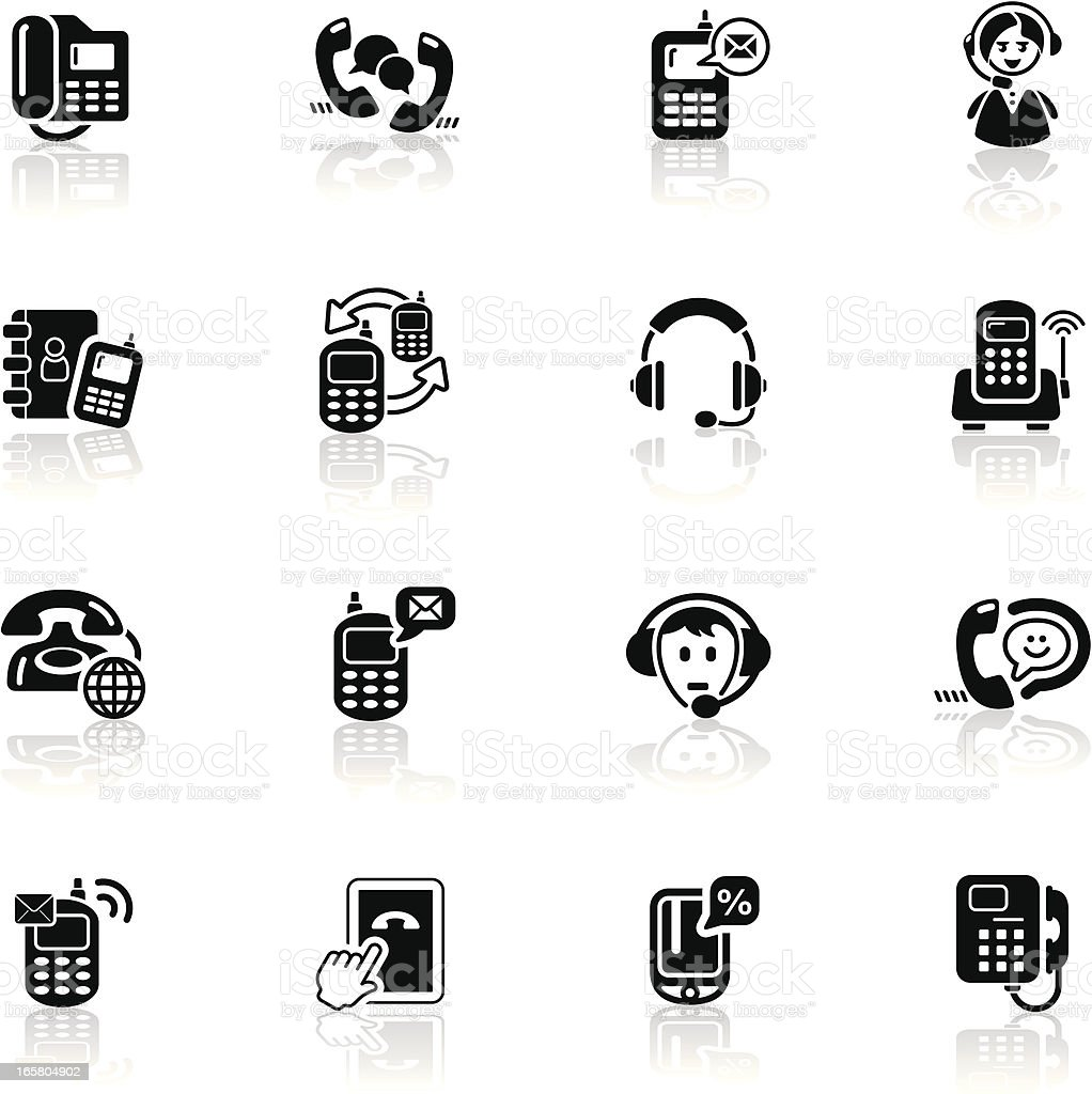 Deep Black Series   telephone icons royalty-free stock vector art