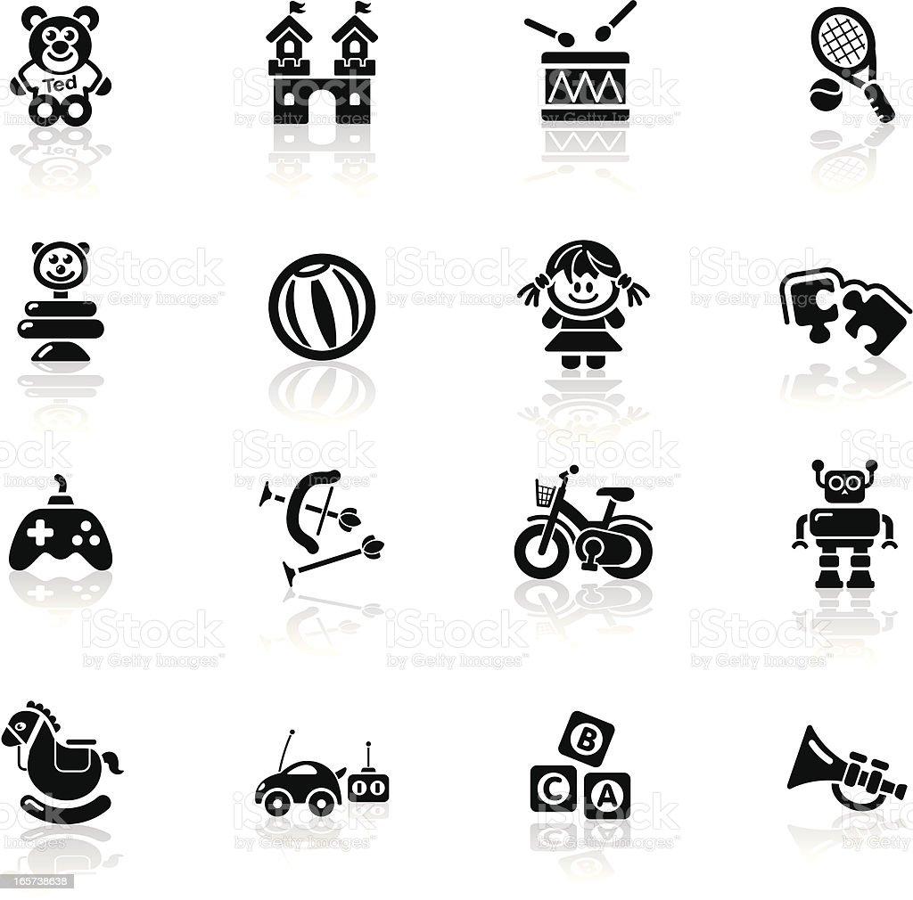 Deep Black Series | toys icons royalty-free stock vector art