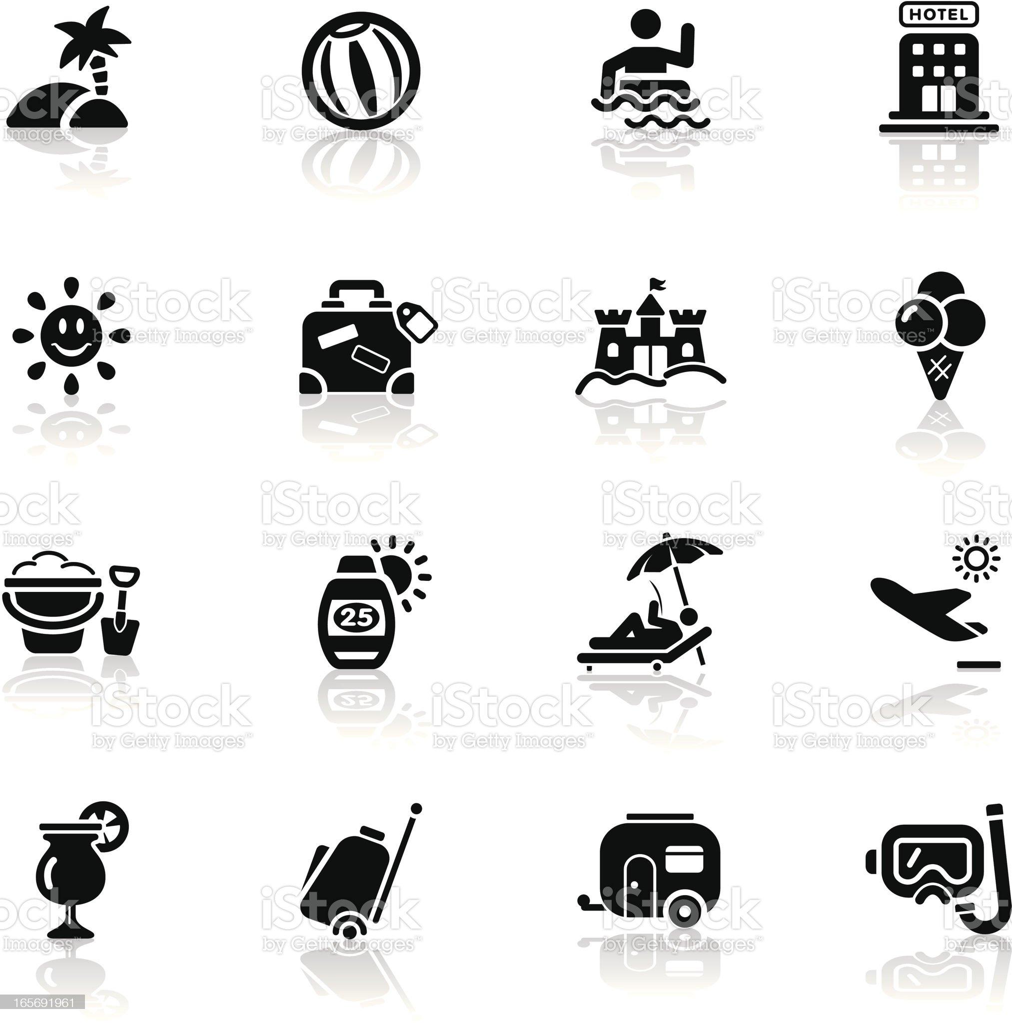Deep Black Series | vacation icons royalty-free stock vector art