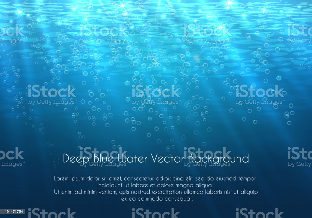 Deep blue water vector background with bubbles vector art illustration
