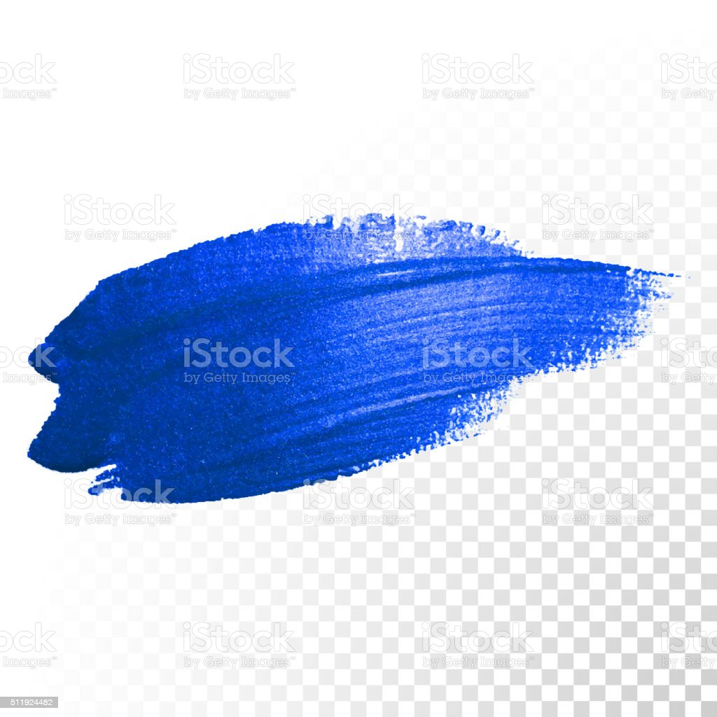 Deep blue watercolor brush abstract stroke. Vector oil paint smear vector art illustration