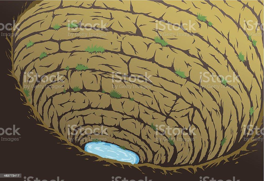 Deep cave vector art illustration