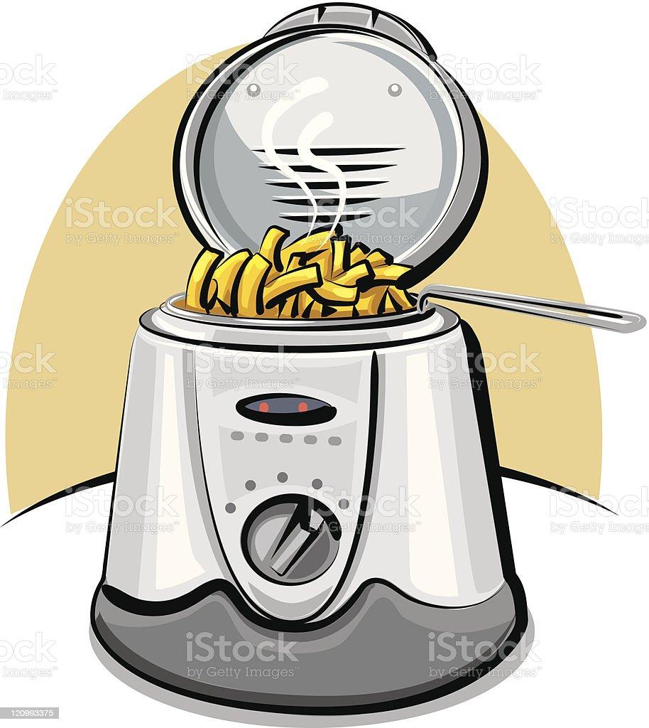 deep fryer and chips vector art illustration