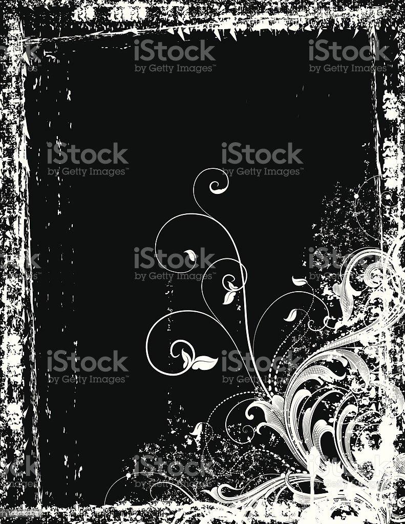 Deep Grunge Scrollwork vector art illustration