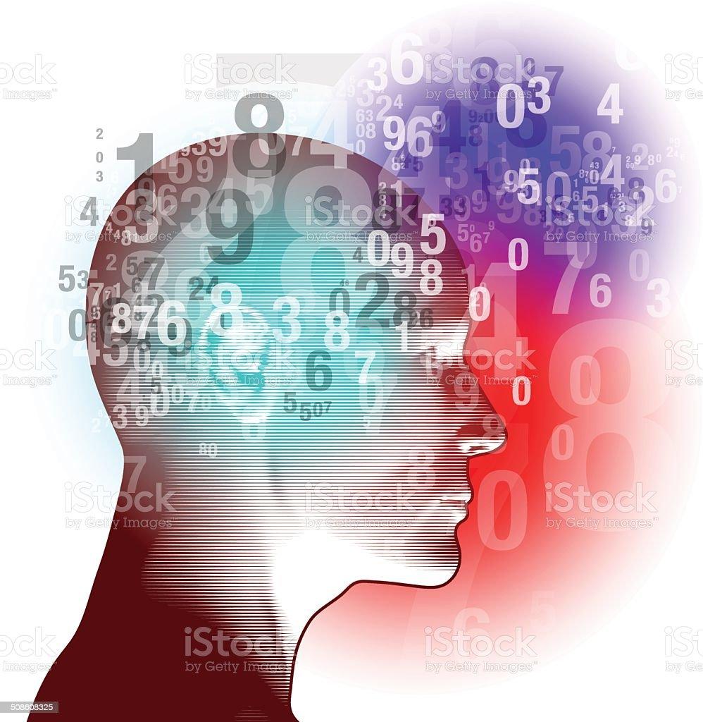 Deep Numeric Thinking vector art illustration