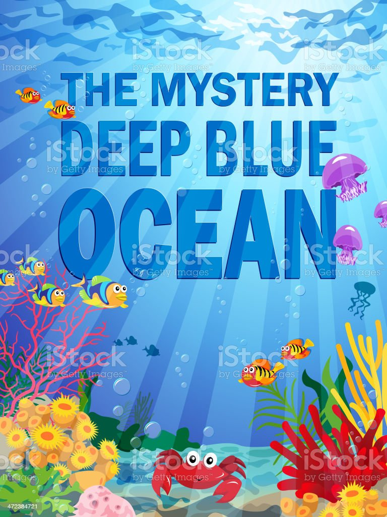 Deep Ocean Background with Sea Life royalty-free stock vector art