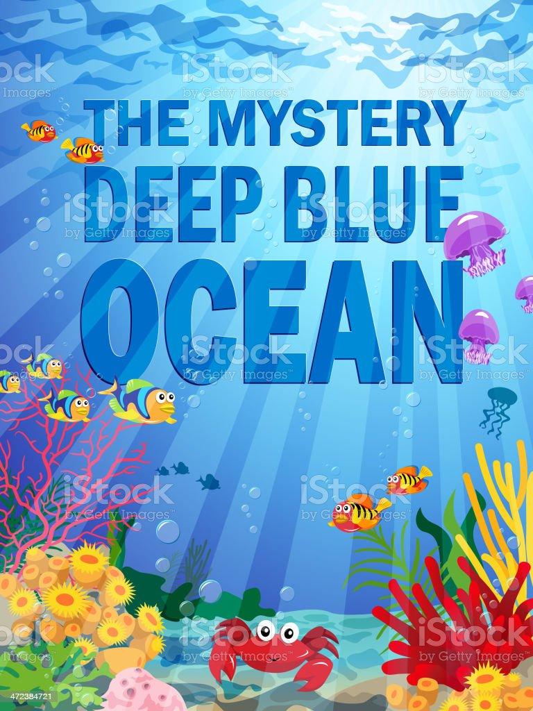 Deep Ocean Background with Sea Life vector art illustration