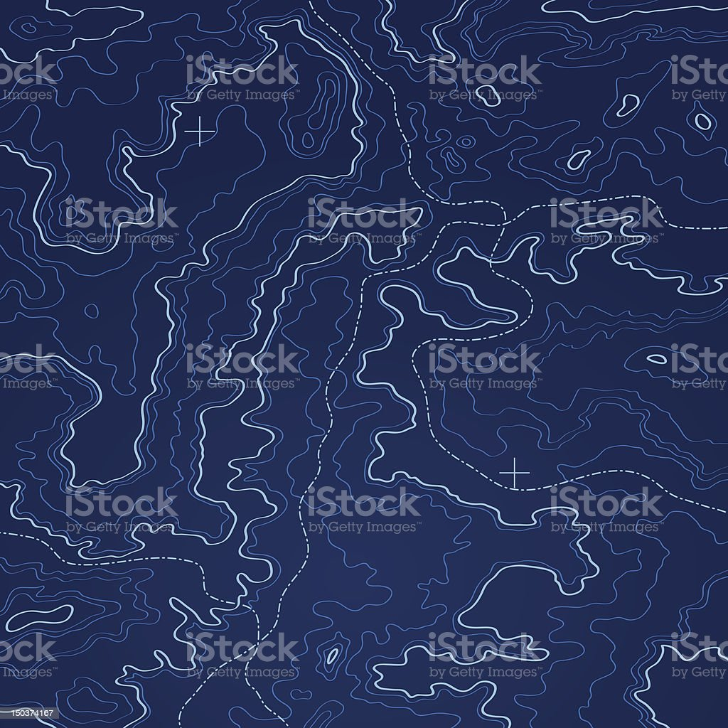 Deep sea blue topographic map vector illustration. vector art illustration