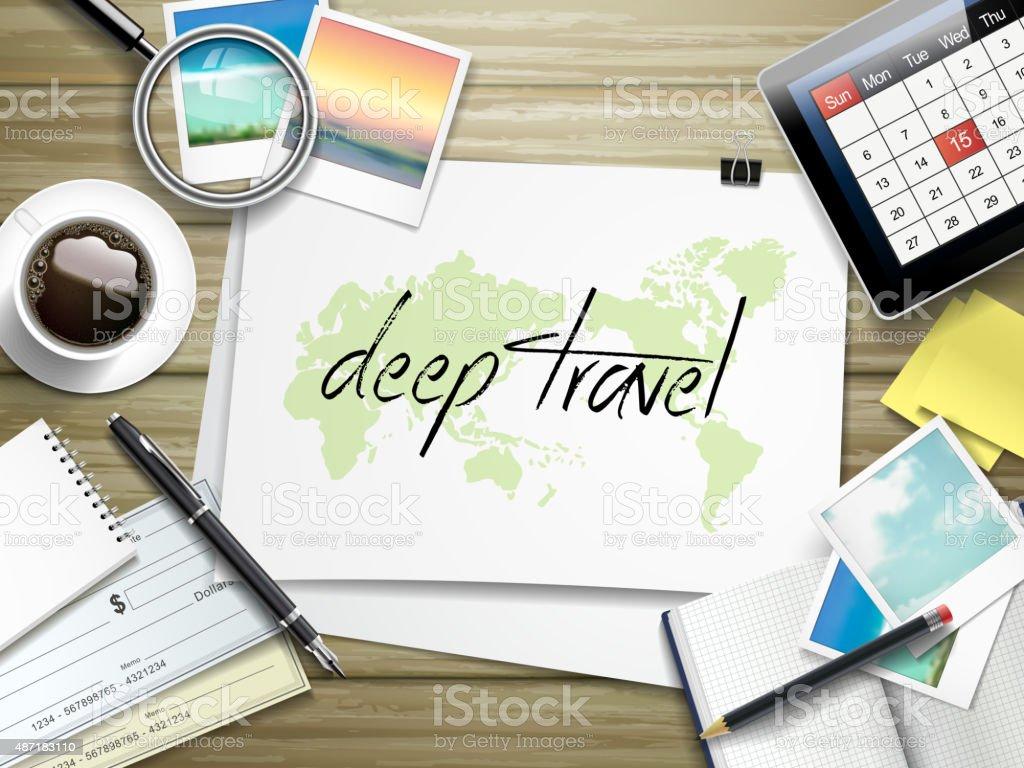 deep travel written on paper vector art illustration