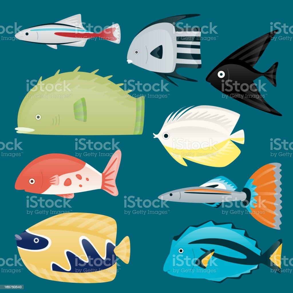 Deep water sea tropical aquatic marine fish set vector art illustration