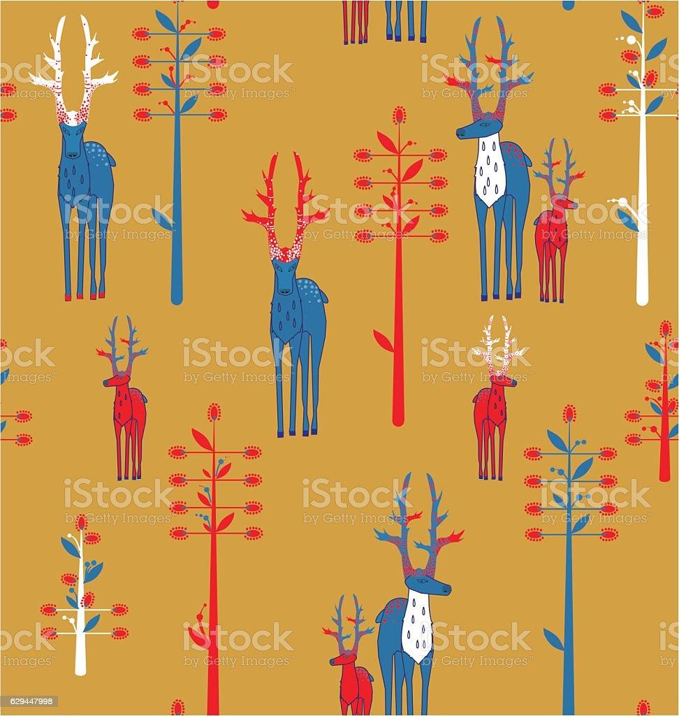 Deer antlered and fantasy trees vector art illustration
