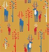 Deer antlered and fantasy trees