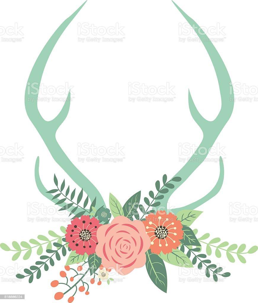 Deer Antlers with Flowers vector art illustration