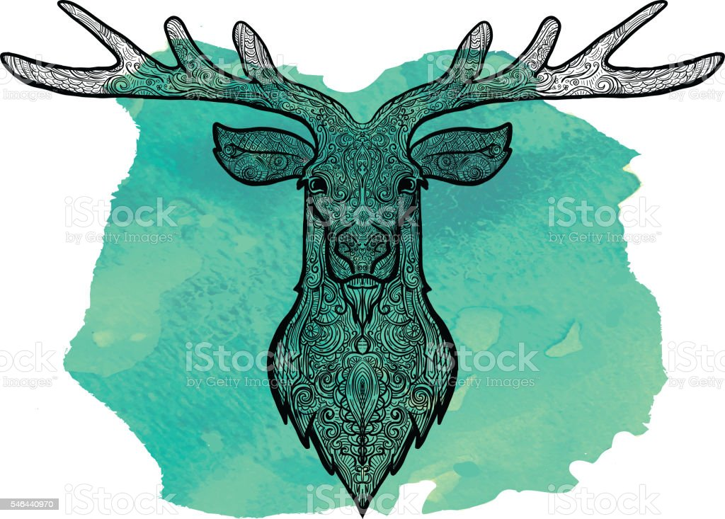 Deer doodle drawing hand drawn on watercolor texture vector art illustration