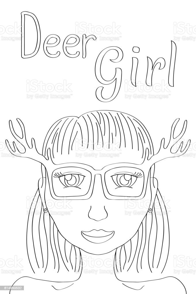 Deer Girl coloring page. Cute girl black line vector illustration. Boho style fashionista girl print. vector art illustration
