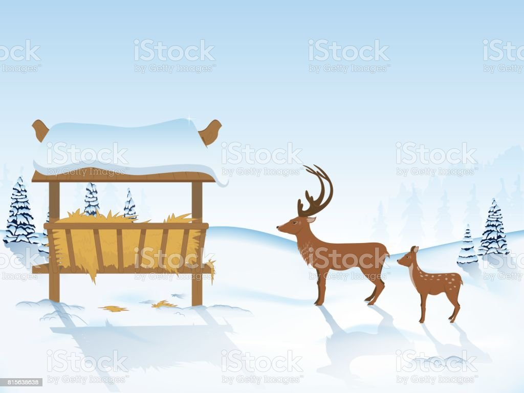deer go to the feeder vector art illustration