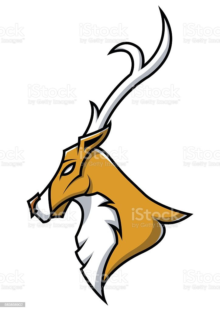 Deer head mascot on isolated vector art illustration