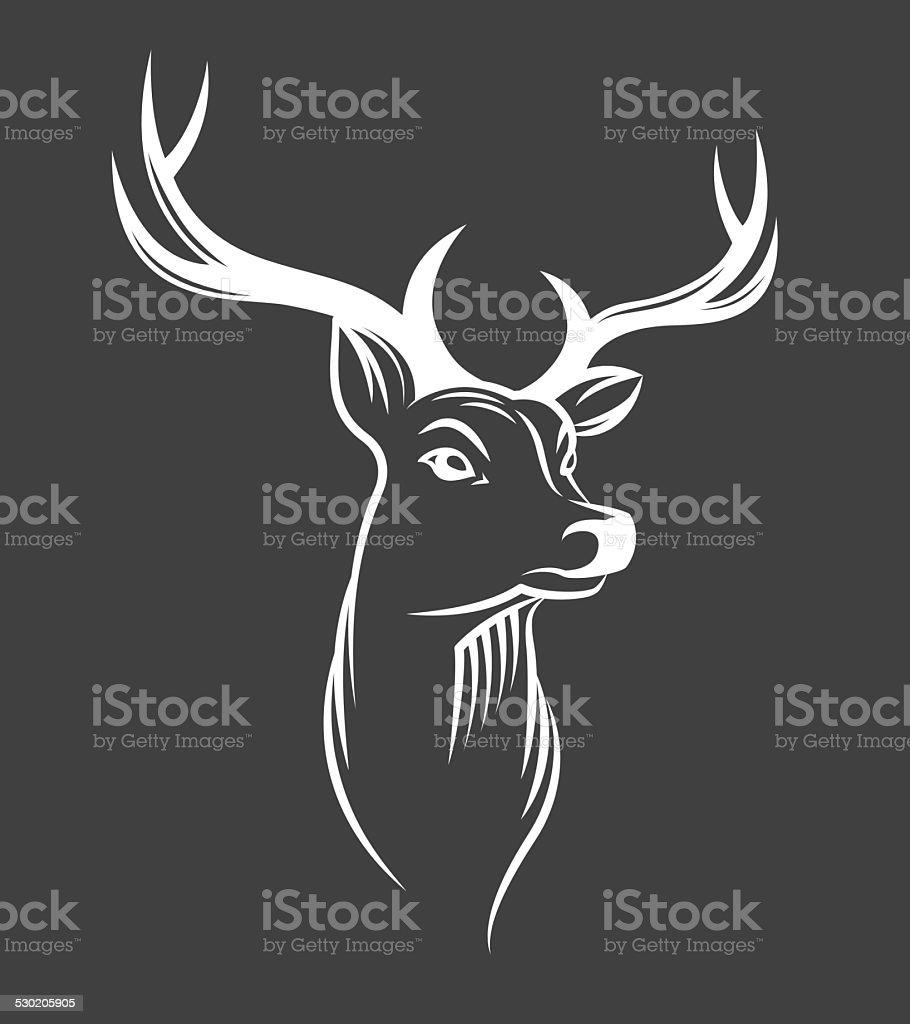 Deer head on black background vector art illustration