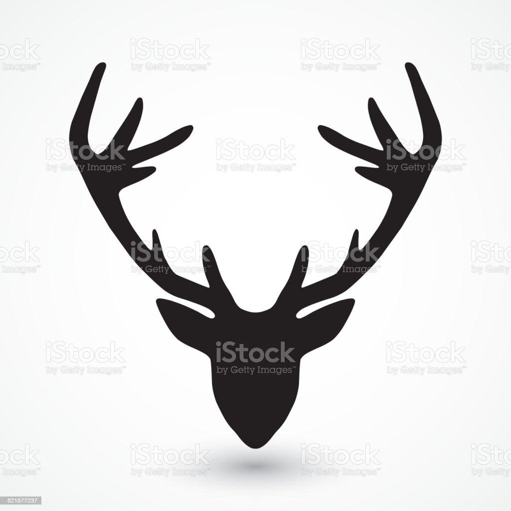 Deer head silhouette vector art illustration