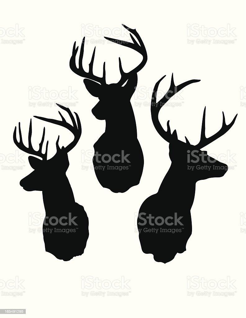 Deer Head Silhouettes royalty-free stock vector art