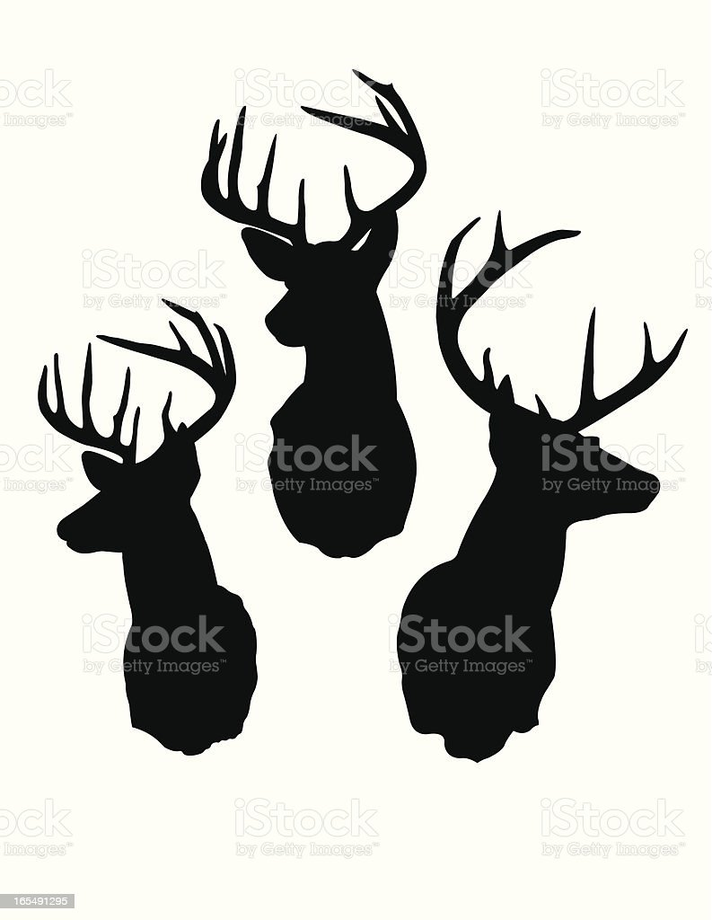 Deer Head Silhouettes vector art illustration