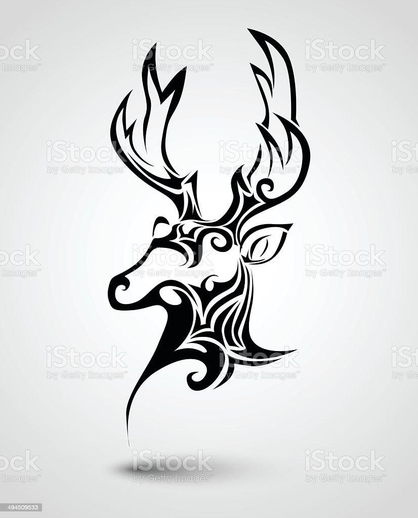 Tatouage tête de cerf stock vecteur libres de droits libre de droits
