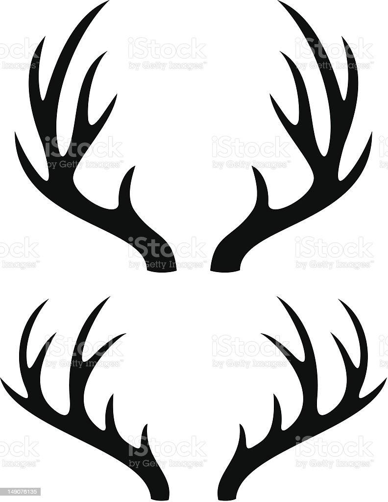 deer horns vector art illustration