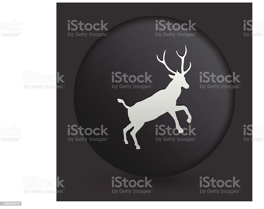 Deer Icon on Round Black Button Collection royalty-free stock vector art