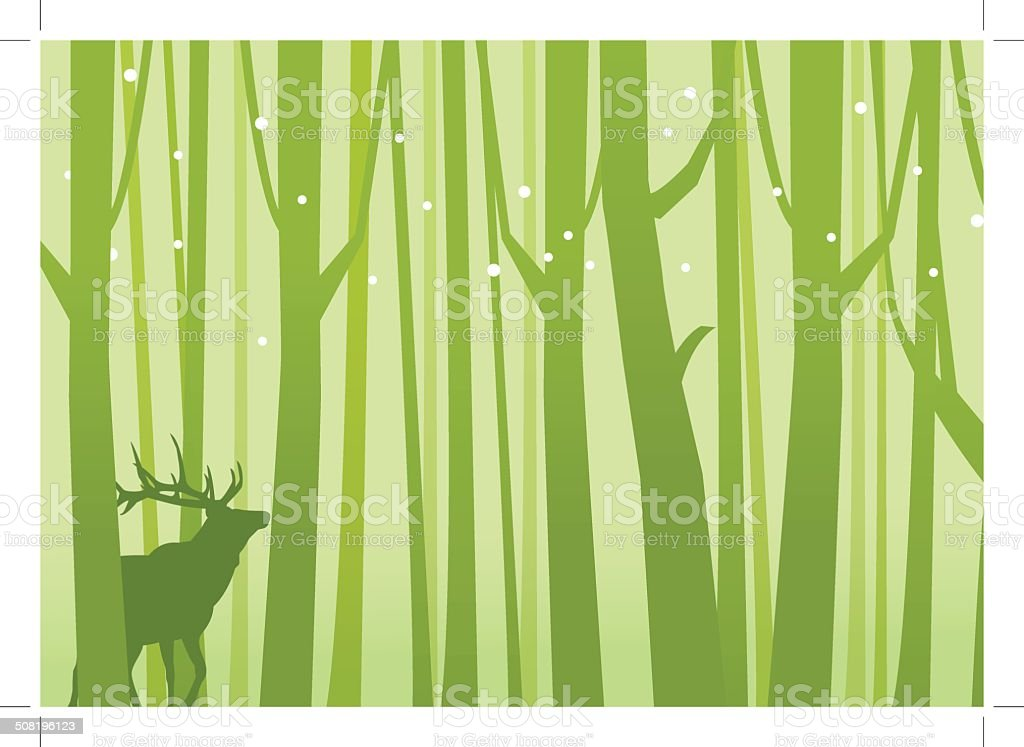 Deer in Forest Green royalty-free stock vector art