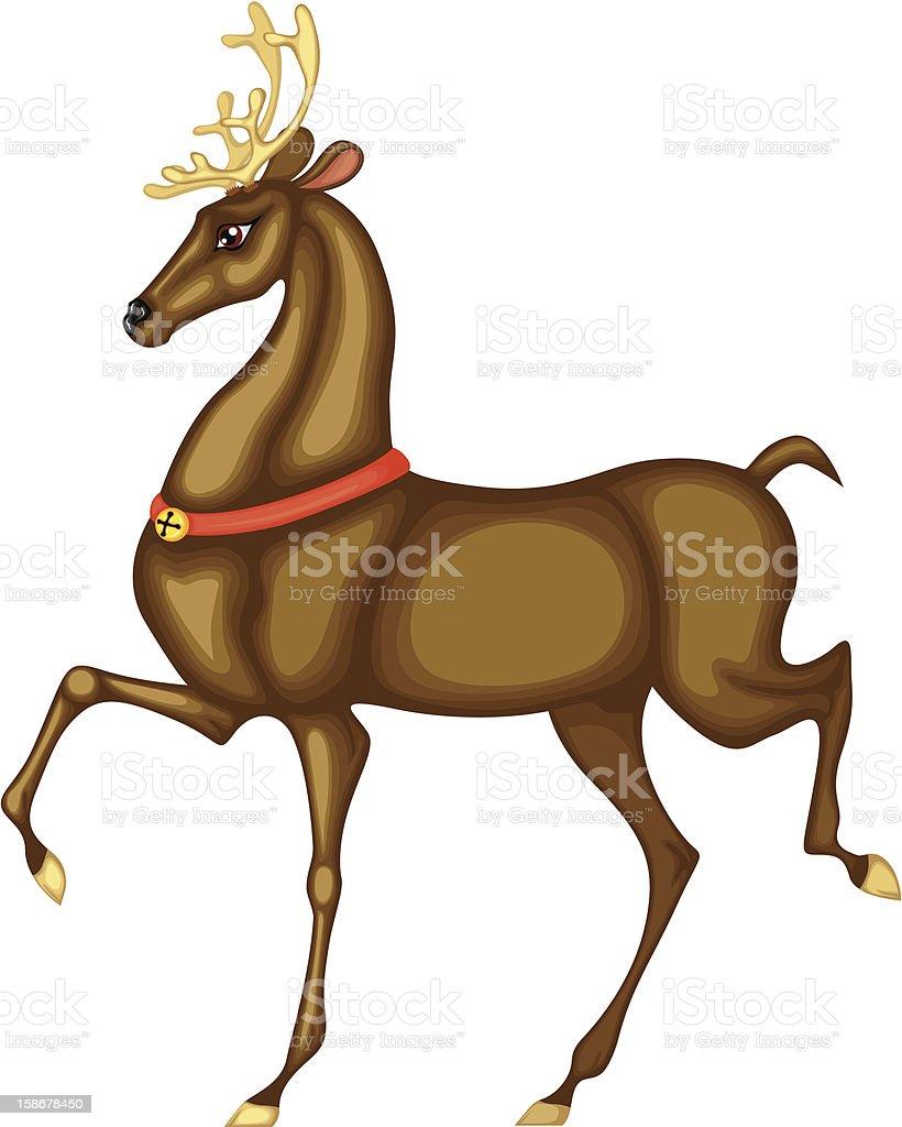 Deer of Santa Claus vector art illustration