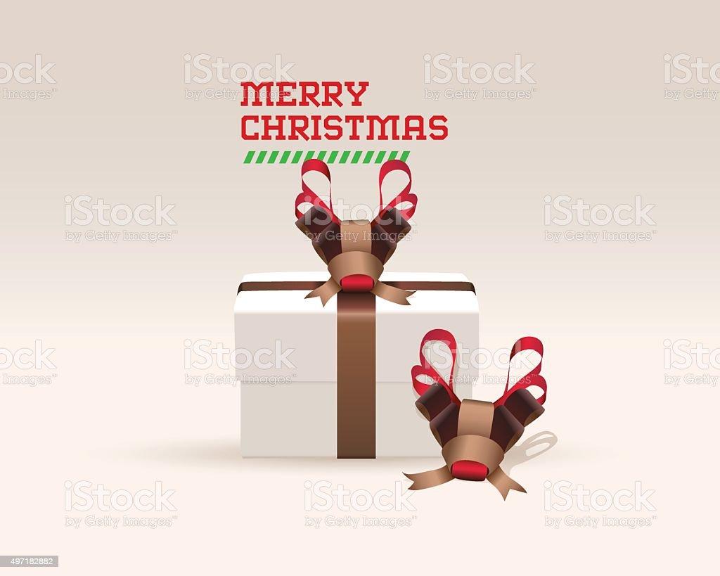 Deer Ribbon Gift Wrap vector art illustration
