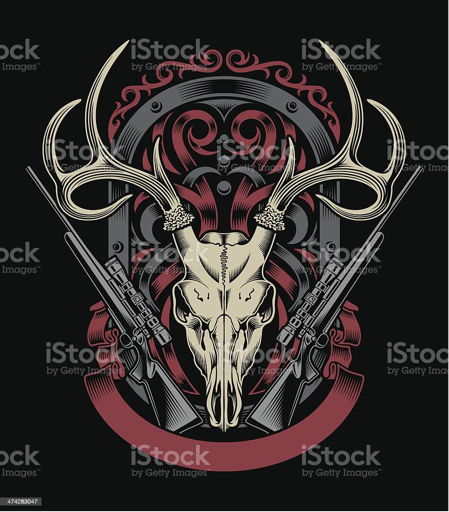 Deer Skull With Rifle vector art illustration
