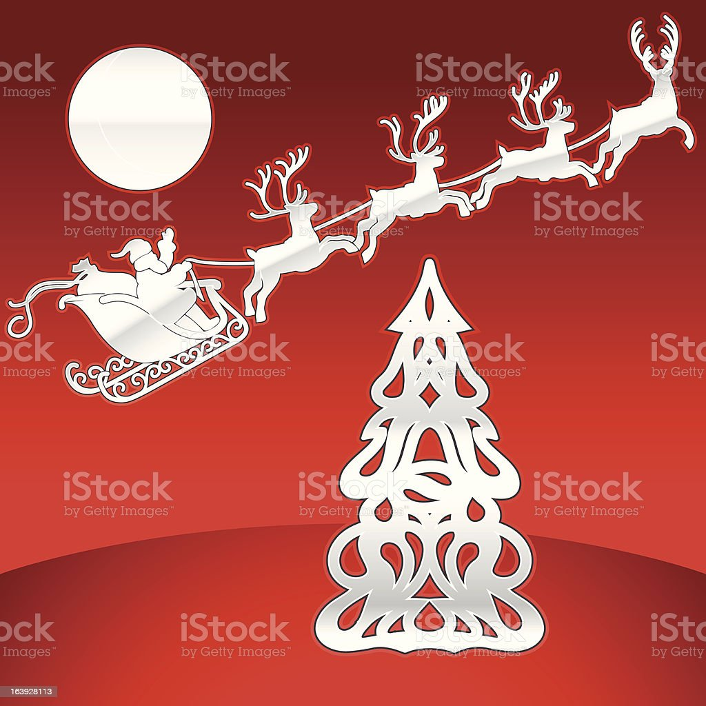 Deer Team and Christmas Tree royalty-free stock vector art