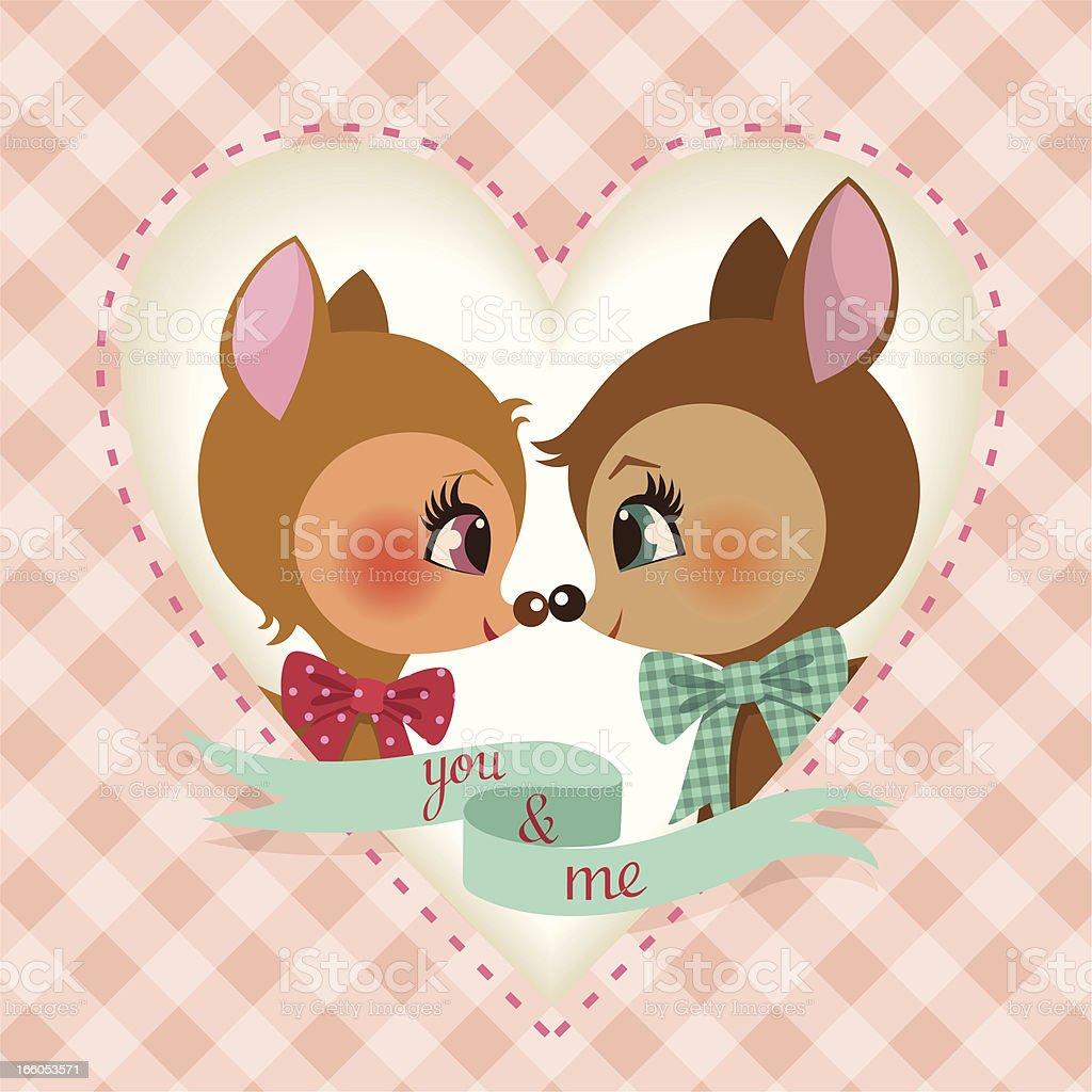 deer valentine couple fawn cute vintage love  illustration vector royalty-free stock vector art