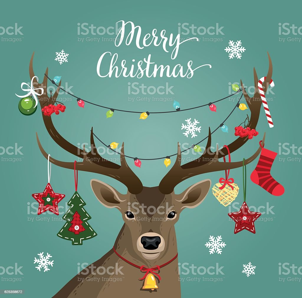 Deer with Christmas handmade decorations vector art illustration