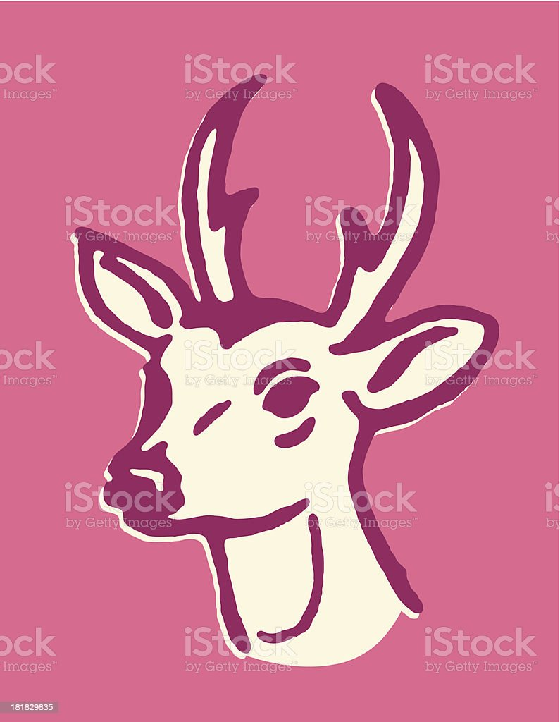 Deer with Small Antlers vector art illustration