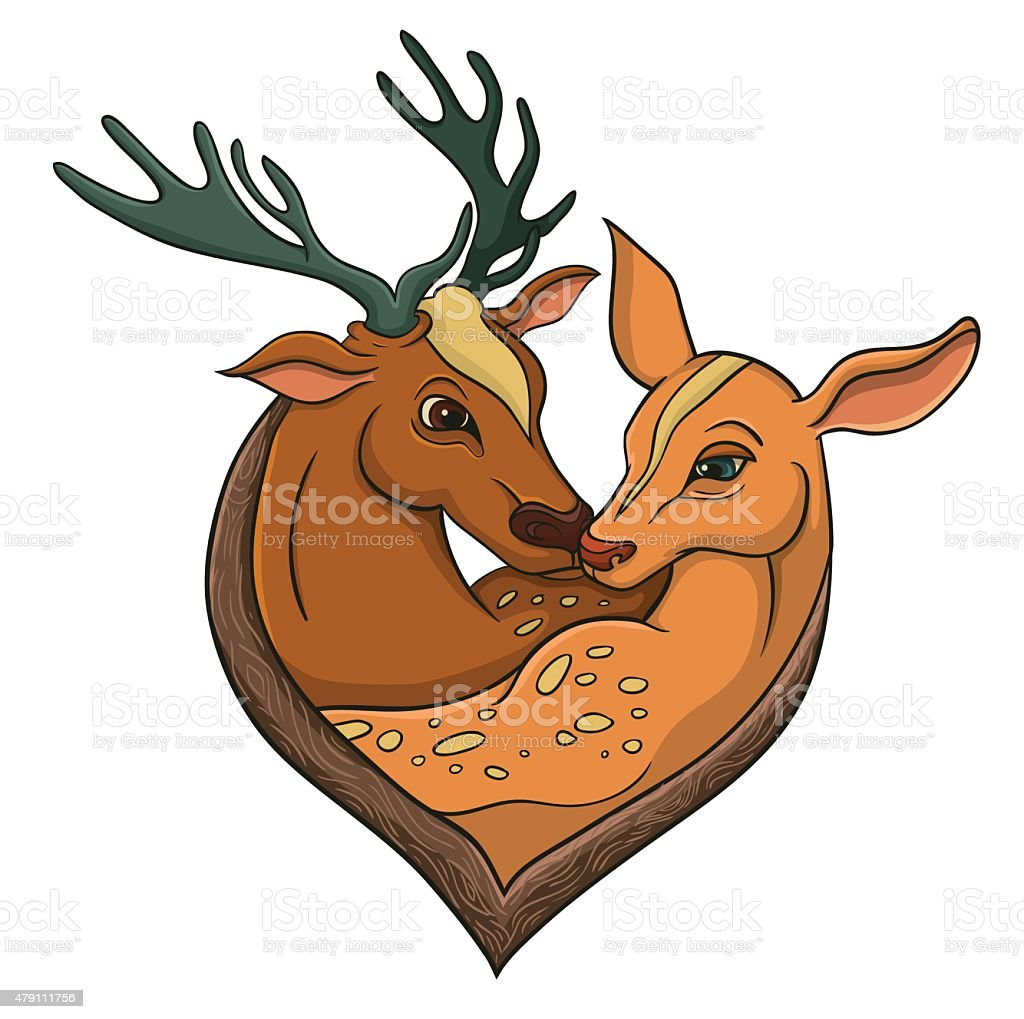 Deers falling in love. Illustration with simple gradients. vector art illustration