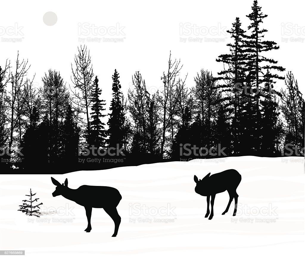DeerWinter vector art illustration