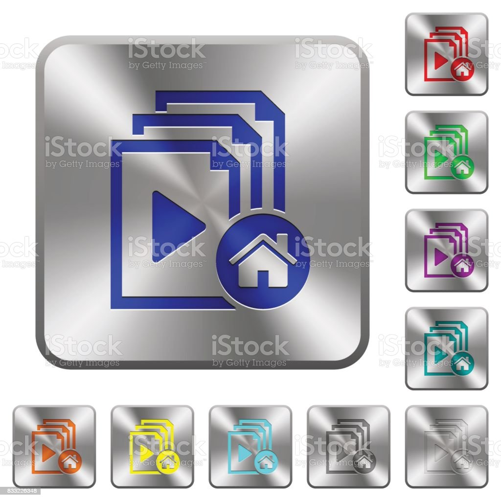Default playlist rounded square steel buttons vector art illustration