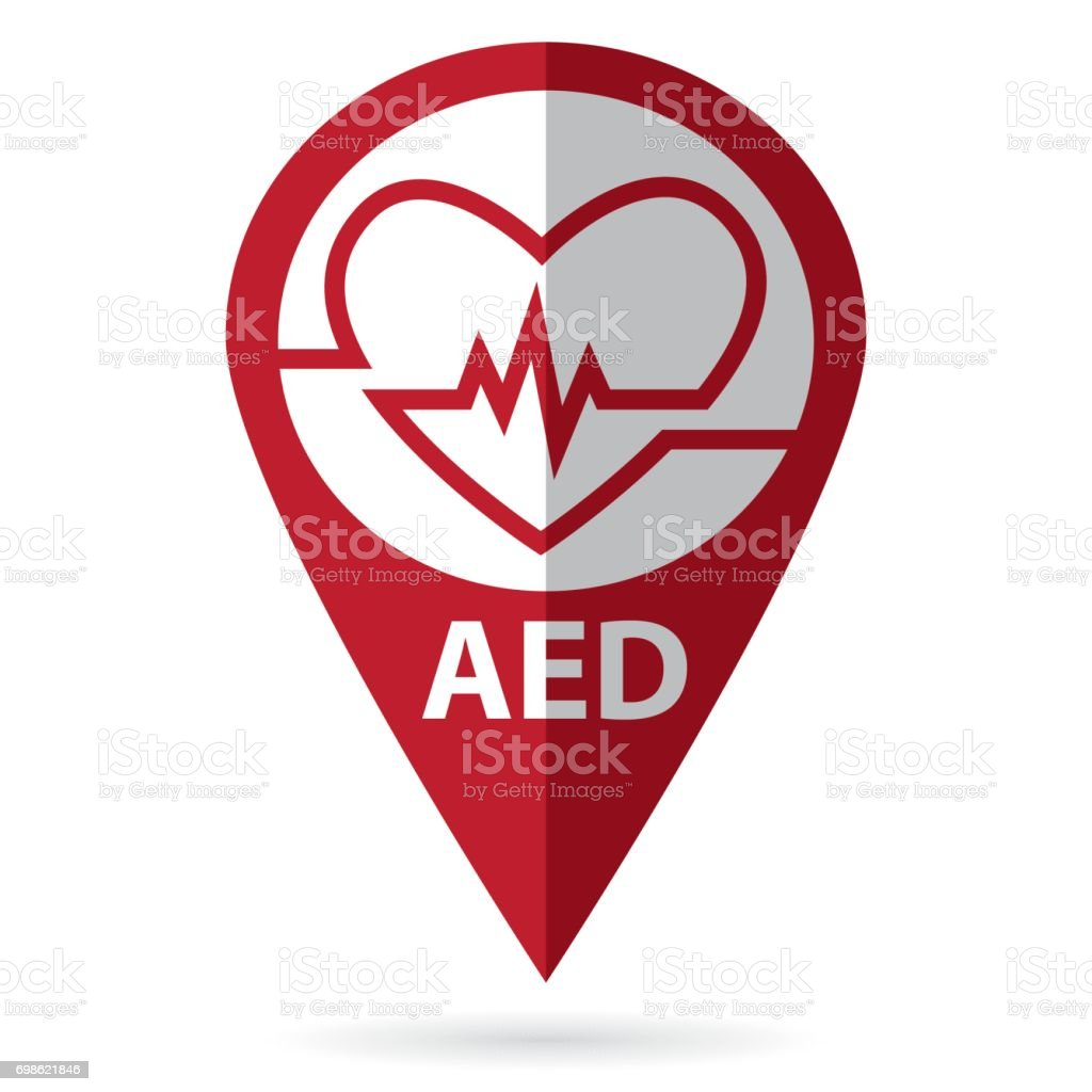 defibrillator symbol with location icon vector art illustration