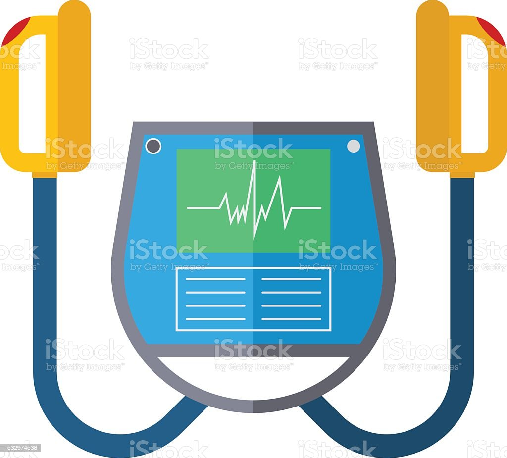Defibrillator unit isolated medical vector icon vector art illustration