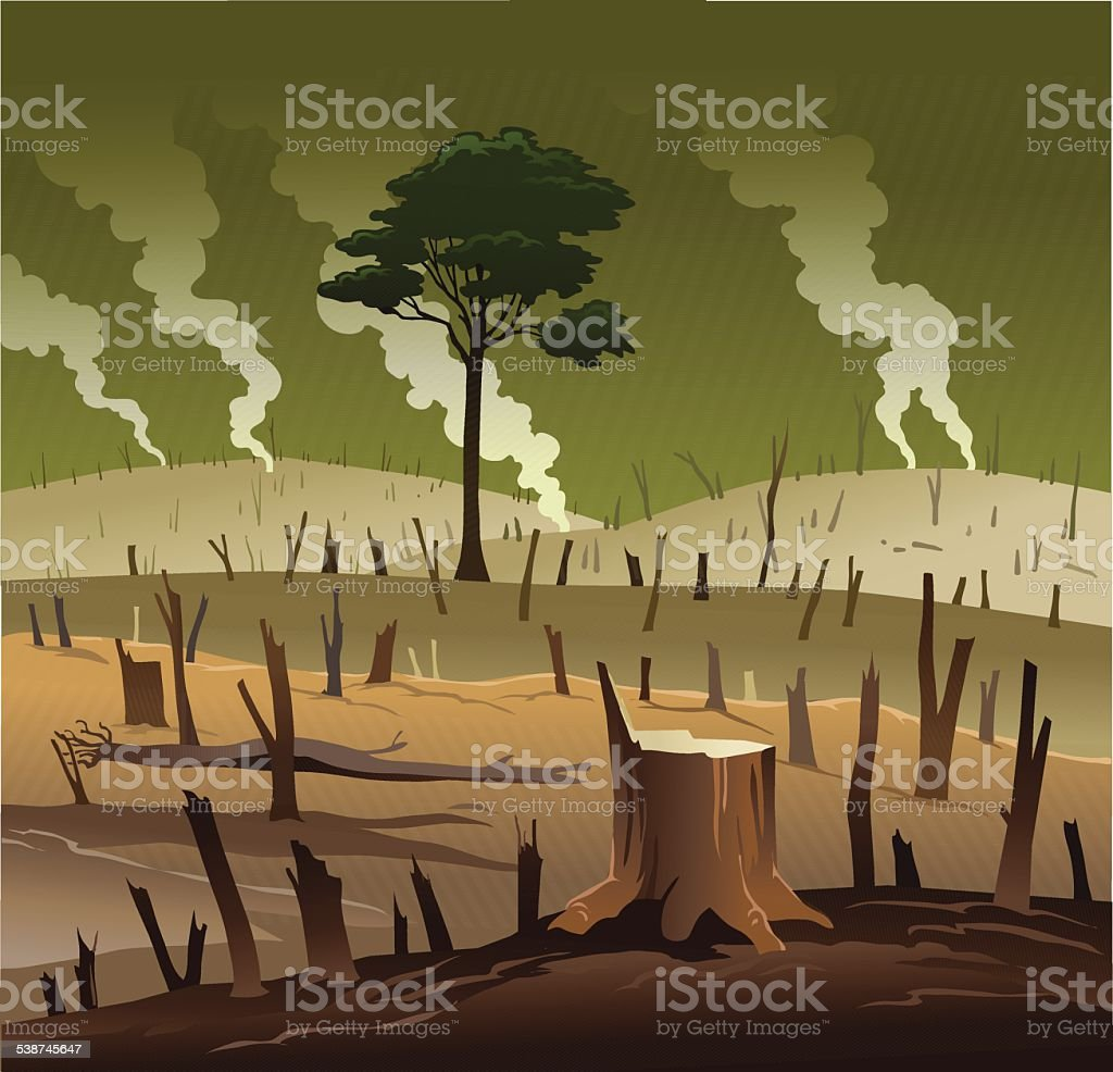Deforestation and the Lonely Tree vector art illustration