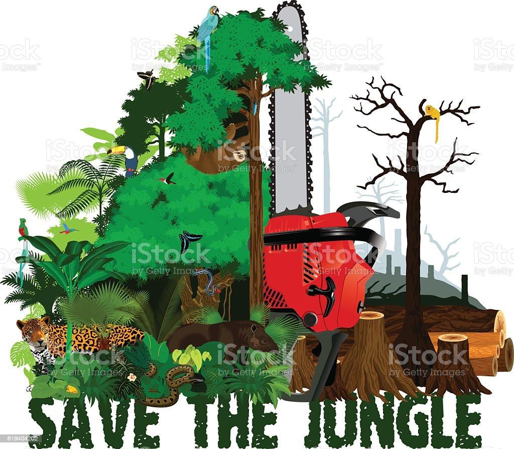 Deforestation  jungle vector illustration. Vector Rainforest destroyed with animals. vector art illustration