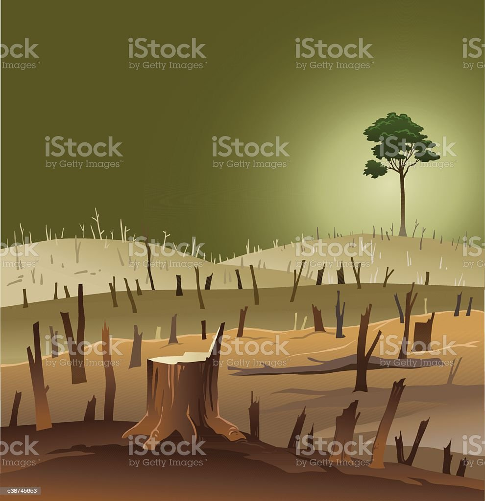 Deforestation - Wasteland With a Lonely Tree vector art illustration