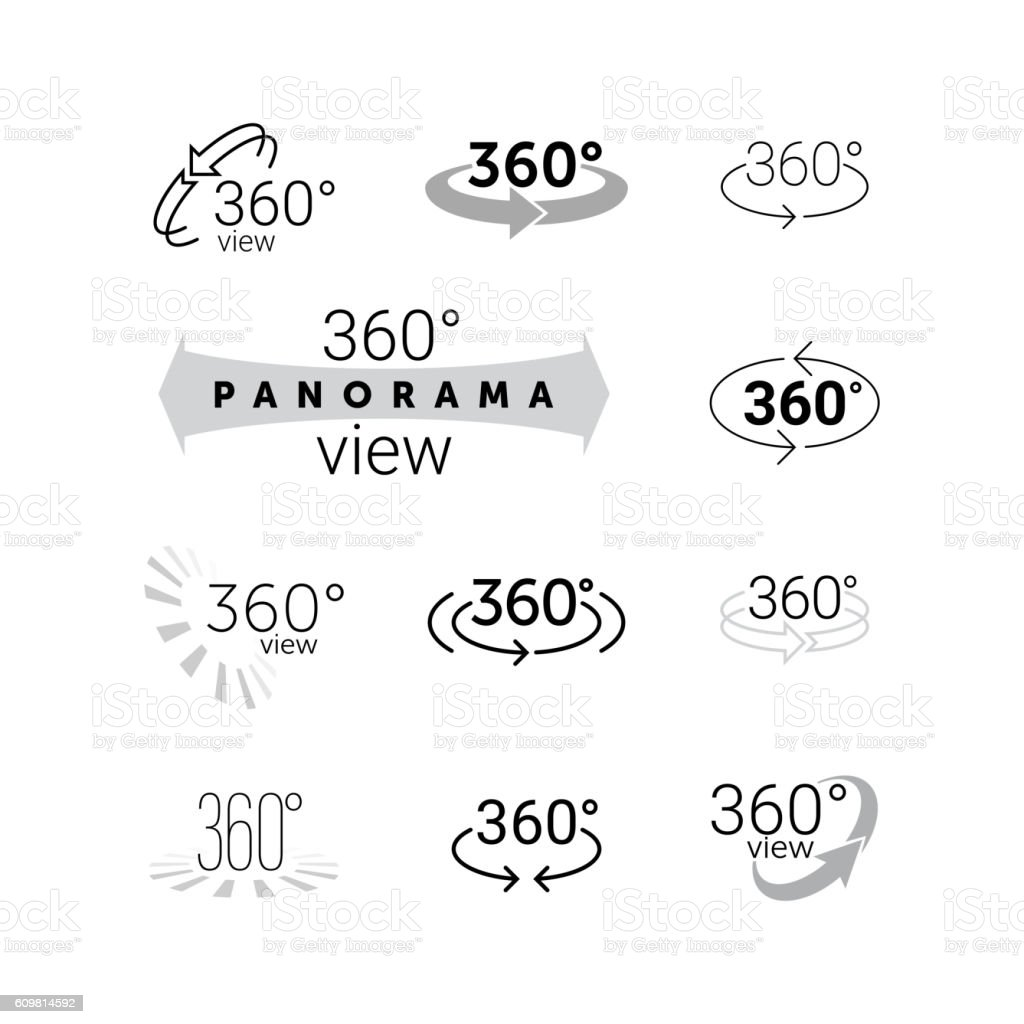 360 degrees rotating virtual reality VR view icon vector art illustration