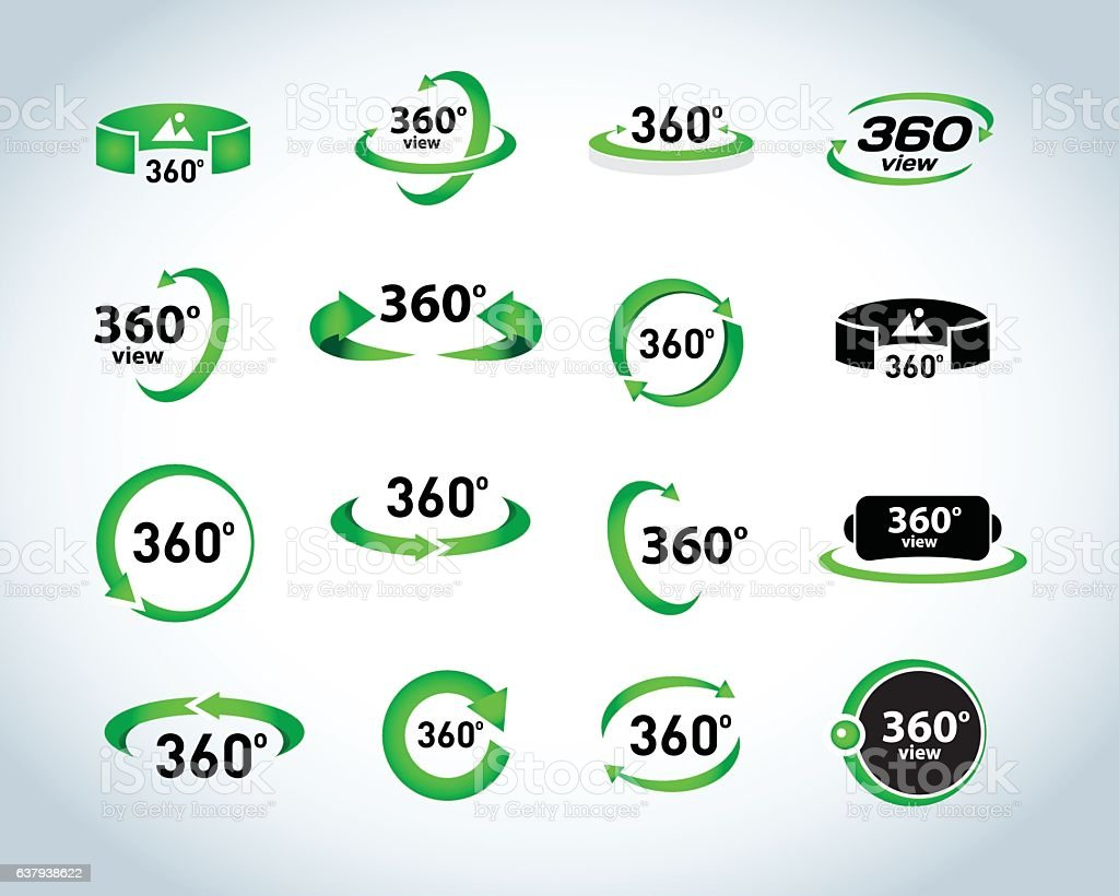 360 Degrees View Vector Icons set. Virtual reality icons. vector art illustration