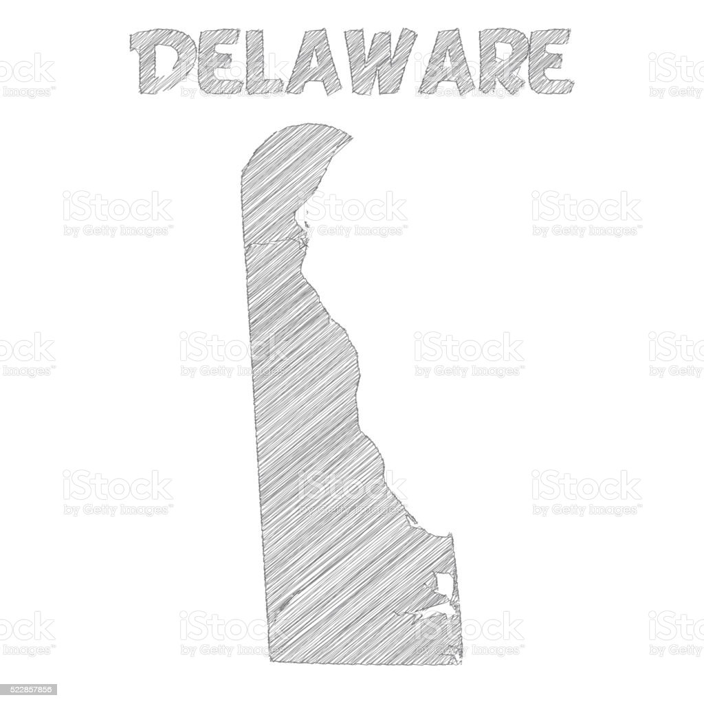 Delaware Map Hand Drawn On White Background Stock Vector Art - Hand drawn us map vector